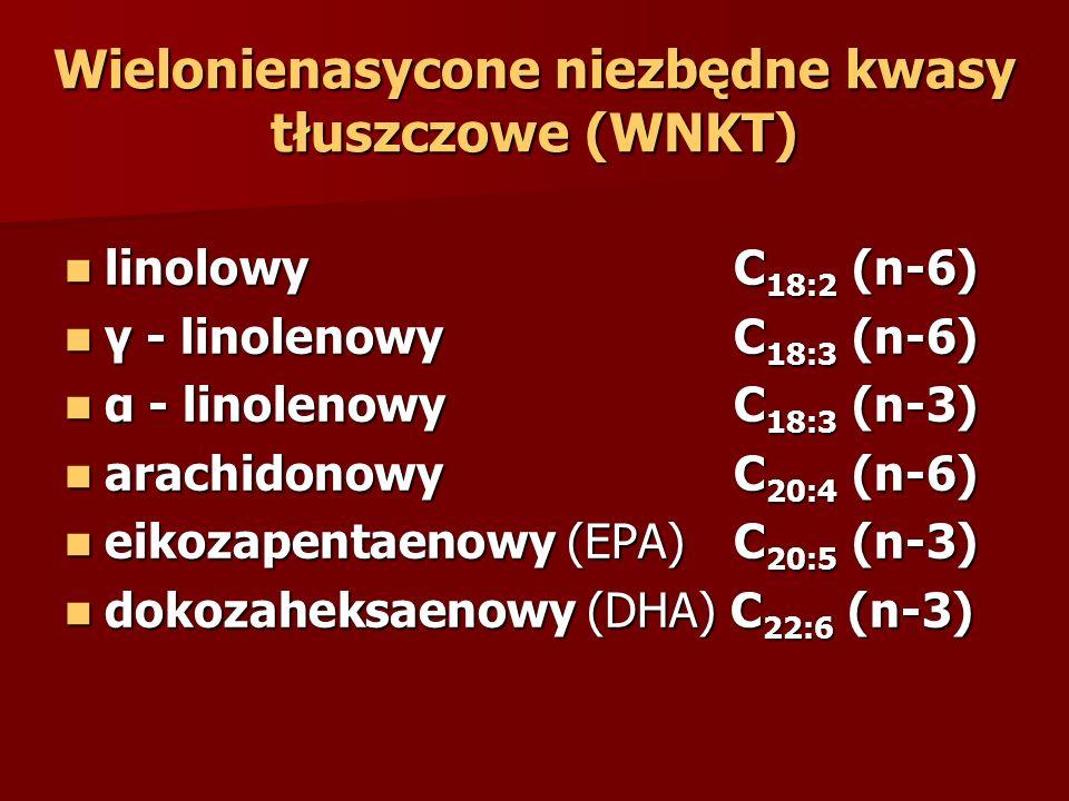 Wielonienasycone niezbędne kwasy tłuszczowe (WNKT) linolowy C 18:2 (n-6) linolowy C 18:2 (n-6) γ - linolenowy C 18:3 (n-6) γ - linolenowy C 18:3 (n-6) α - linolenowy C 18:3 (n-3) α - linolenowy C 18:3 (n-3) arachidonowy C 20:4 (n-6) arachidonowy C 20:4 (n-6) eikozapentaenowy (EPA) C 20:5 (n-3) eikozapentaenowy (EPA) C 20:5 (n-3) dokozaheksaenowy (DHA) C 22:6 (n-3) dokozaheksaenowy (DHA) C 22:6 (n-3)
