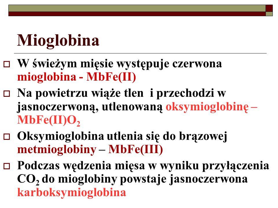 Mioglobina  W świeżym mięsie występuje czerwona mioglobina - MbFe(II)  Na powietrzu wiąże tlen i przechodzi w jasnoczerwoną, utlenowaną oksymioglobi