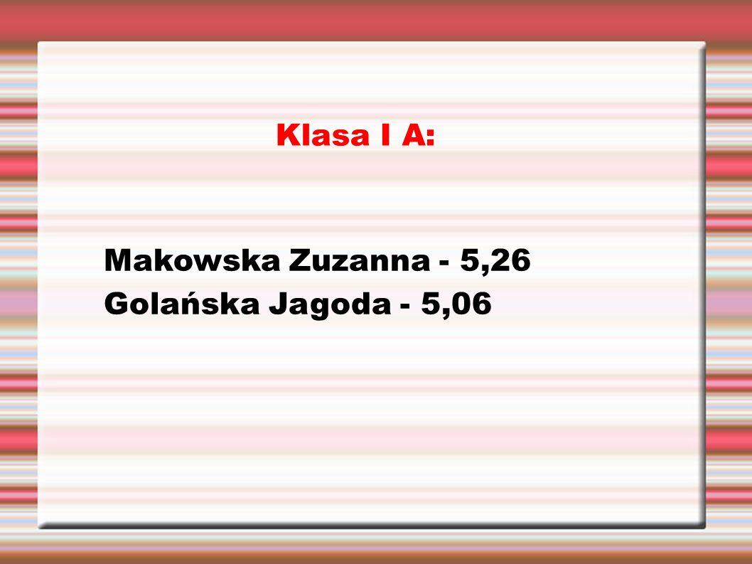 Klasa I A: Makowska Zuzanna - 5,26 Golańska Jagoda - 5,06