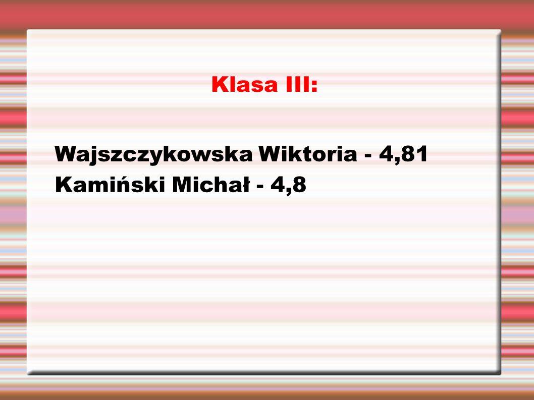 Klasa III: Wajszczykowska Wiktoria - 4,81 Kamiński Michał - 4,8