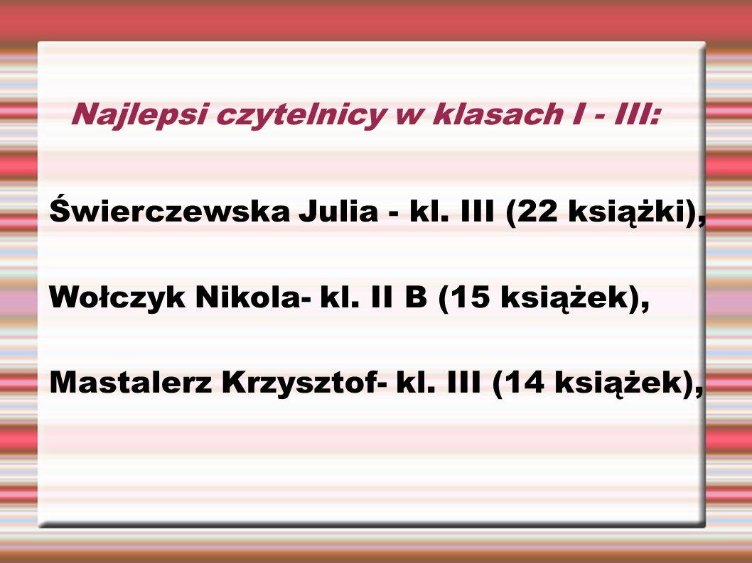 Najlepsi czytelnicy w klasach I - III: Świerczewska Julia - kl. III (22 książki), Wołczyk Nikola- kl. II B (15 książek), Mastalerz Krzysztof- kl. III