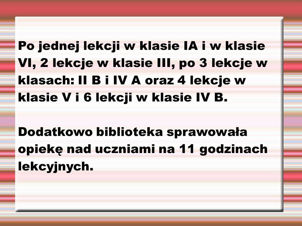 Po jednej lekcji w klasie IA i w klasie VI, 2 lekcje w klasie III, po 3 lekcje w klasach: II B i IV A oraz 4 lekcje w klasie V i 6 lekcji w klasie IV B.