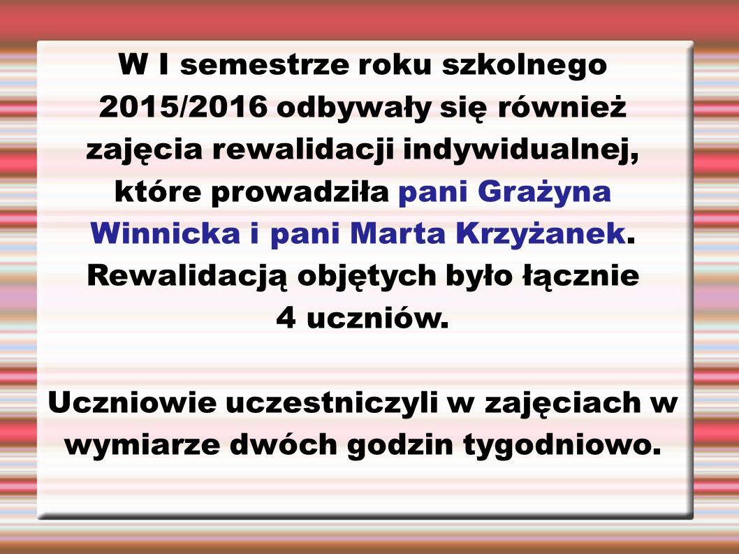 W I semestrze roku szkolnego 2015/2016 odbywały się również zajęcia rewalidacji indywidualnej, które prowadziła pani Grażyna Winnicka i pani Marta Krz