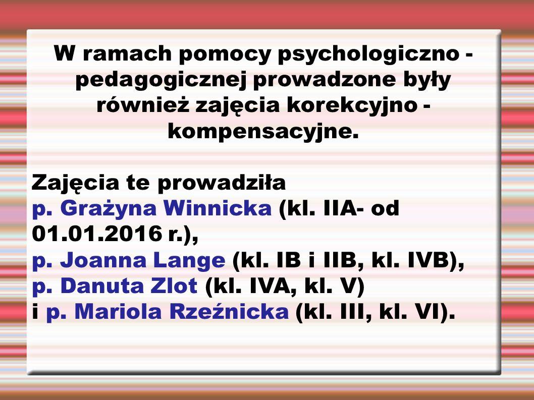 W ramach pomocy psychologiczno - pedagogicznej prowadzone były również zajęcia korekcyjno - kompensacyjne. Zajęcia te prowadziła p. Grażyna Winnicka (