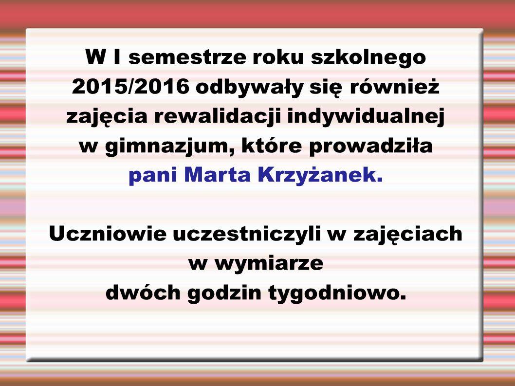 W I semestrze roku szkolnego 2015/2016 odbywały się również zajęcia rewalidacji indywidualnej w gimnazjum, które prowadziła pani Marta Krzyżanek. Uczn