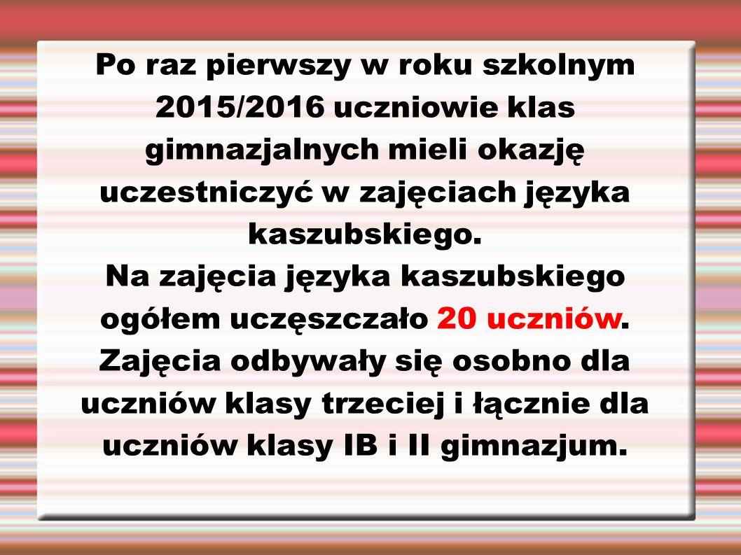 Po raz pierwszy w roku szkolnym 2015/2016 uczniowie klas gimnazjalnych mieli okazję uczestniczyć w zajęciach języka kaszubskiego. Na zajęcia języka ka