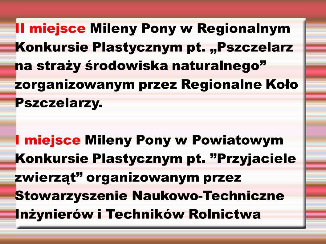 """II miejsce Mileny Pony w Regionalnym Konkursie Plastycznym pt. """"Pszczelarz na straży środowiska naturalnego"""" zorganizowanym przez Regionalne Koło Pszc"""