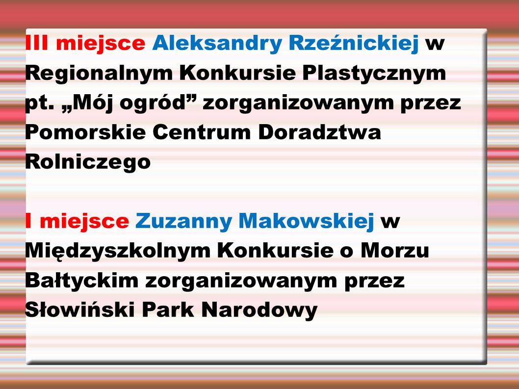 III miejsce Aleksandry Rzeźnickiej w Regionalnym Konkursie Plastycznym pt.