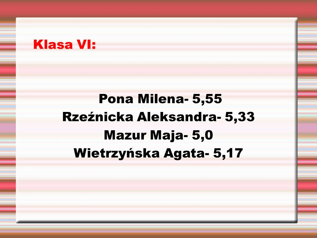 Klasa VI: Pona Milena- 5,55 Rzeźnicka Aleksandra- 5,33 Mazur Maja- 5,0 Wietrzyńska Agata- 5,17