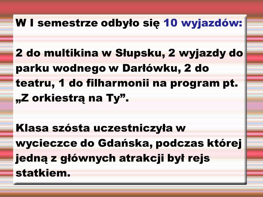 W I semestrze odbyło się 10 wyjazdów: 2 do multikina w Słupsku, 2 wyjazdy do parku wodnego w Darłówku, 2 do teatru, 1 do filharmonii na program pt.