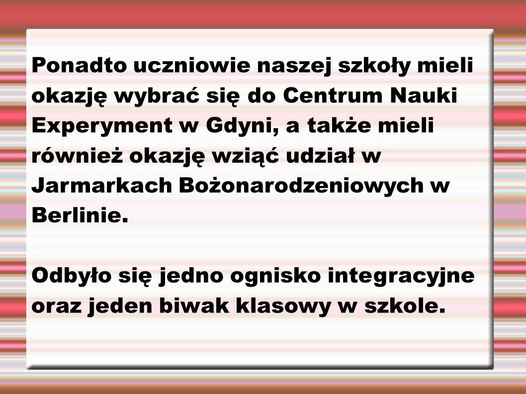 Ponadto uczniowie naszej szkoły mieli okazję wybrać się do Centrum Nauki Experyment w Gdyni, a także mieli również okazję wziąć udział w Jarmarkach Bo