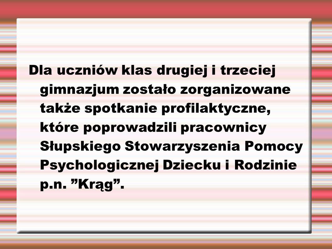 Dla uczniów klas drugiej i trzeciej gimnazjum zostało zorganizowane także spotkanie profilaktyczne, które poprowadzili pracownicy Słupskiego Stowarzys