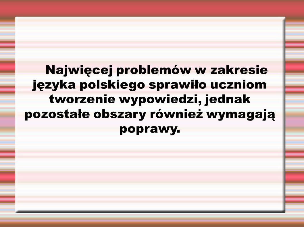 Najwięcej problemów w zakresie języka polskiego sprawiło uczniom tworzenie wypowiedzi, jednak pozostałe obszary również wymagają poprawy.