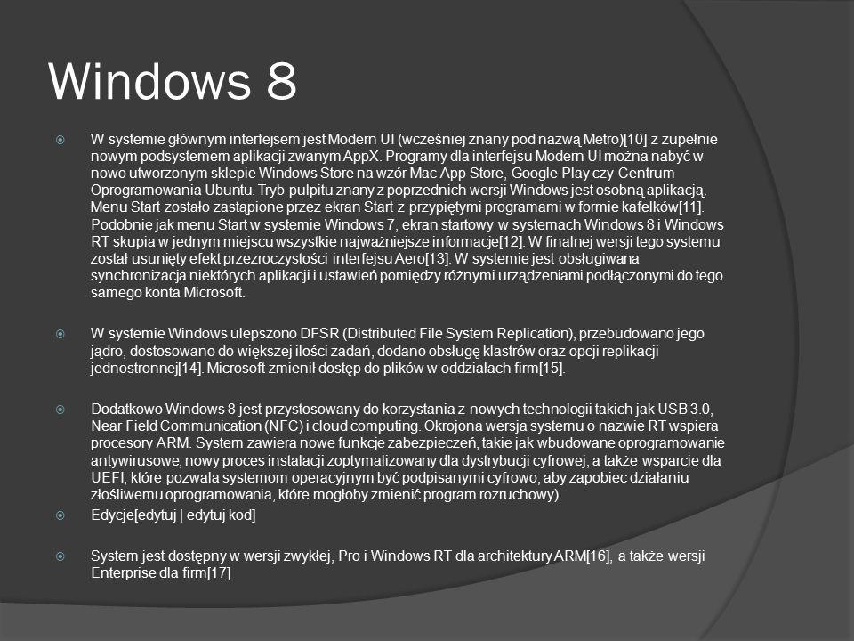 Windows 8  W systemie głównym interfejsem jest Modern UI (wcześniej znany pod nazwą Metro)[10] z zupełnie nowym podsystemem aplikacji zwanym AppX. Pr
