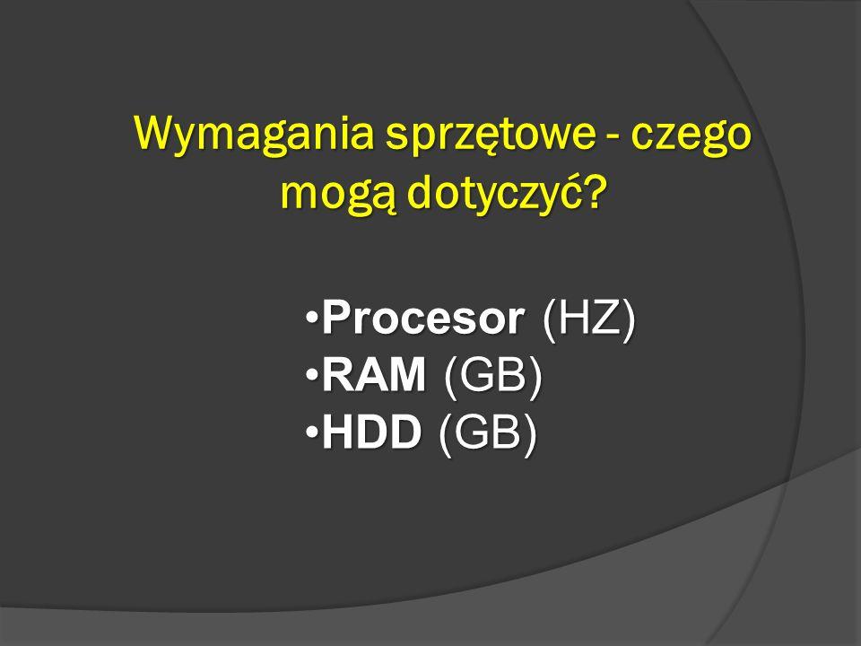 Wymagania sprzętowe - czego mogą dotyczyć? Procesor (HZ)Procesor (HZ) RAM (GB)RAM (GB) HDD (GB)HDD (GB)