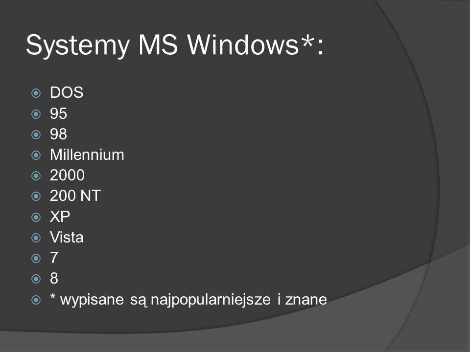 Systemy MS Windows*:  DOS  95  98  Millennium  2000  200 NT  XP  Vista  7  8  * wypisane są najpopularniejsze i znane