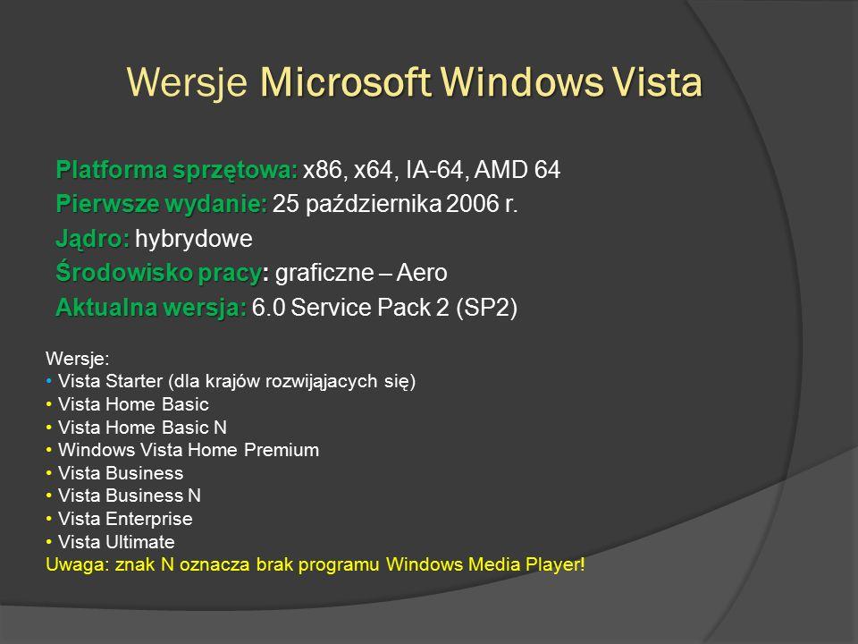 Wymagania Vista  Konfiguracja minimalna:  Niektóre funkcje systemu Windows Vista są niedostępne przy poniższej konfiguracji, według producenta:  Procesor jednordzeniowy 32- lub 64-bitowy o częstotliwości 800 MHz,  512 MB pamięci operacyjnej,  Karta graficzna SVGA (o rozdzielczości 800x600),  Dysk twardy o pojemności 20 GB i 15 GB wolnego miejsca,  Napęd DVD-ROM  Konfiguracja zalecana:  Procesor 32- lub 64-bitowy o częstotliwości 1 GHz,  1 GB pamięci operacyjnej,  Karta graficzna spełniająca wymagania Windows Aero (m.in.