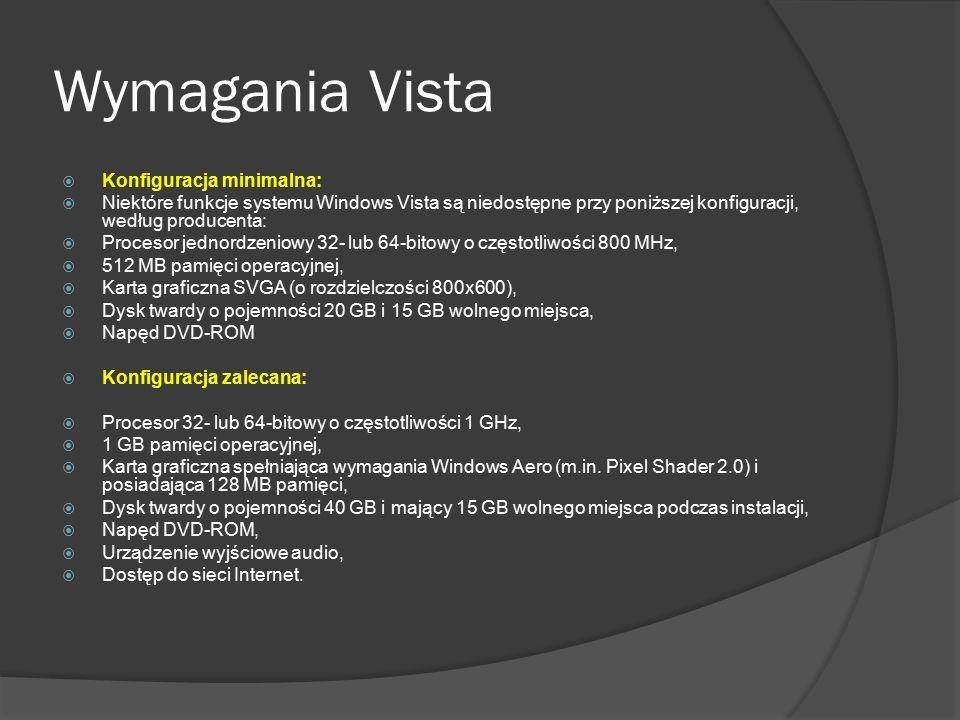 Wymagania Vista  Konfiguracja minimalna:  Niektóre funkcje systemu Windows Vista są niedostępne przy poniższej konfiguracji, według producenta:  Pr