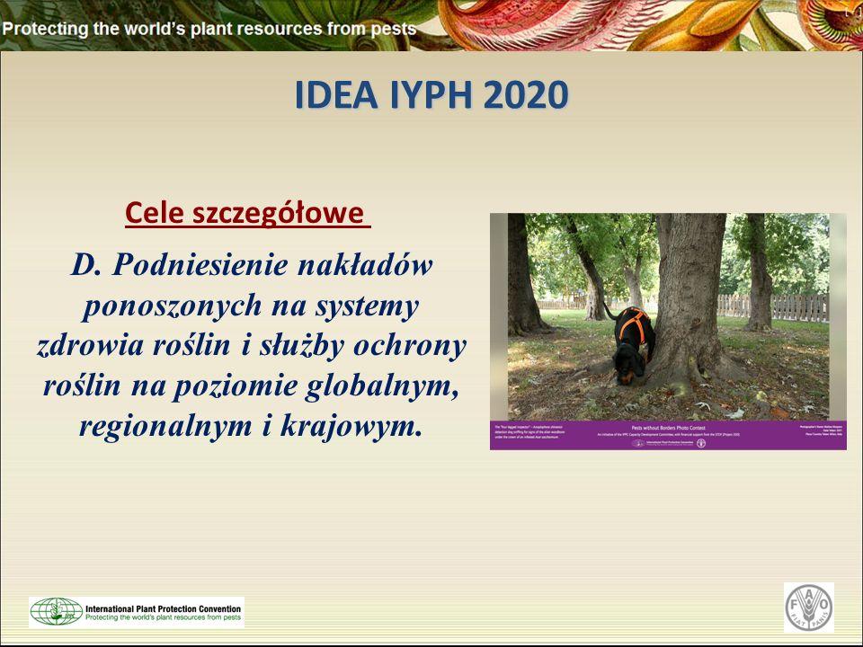 IDEA IYPH 2020 Cele szczegółowe D. Podniesienie nakładów ponoszonych na systemy zdrowia roślin i służby ochrony roślin na poziomie globalnym, regional