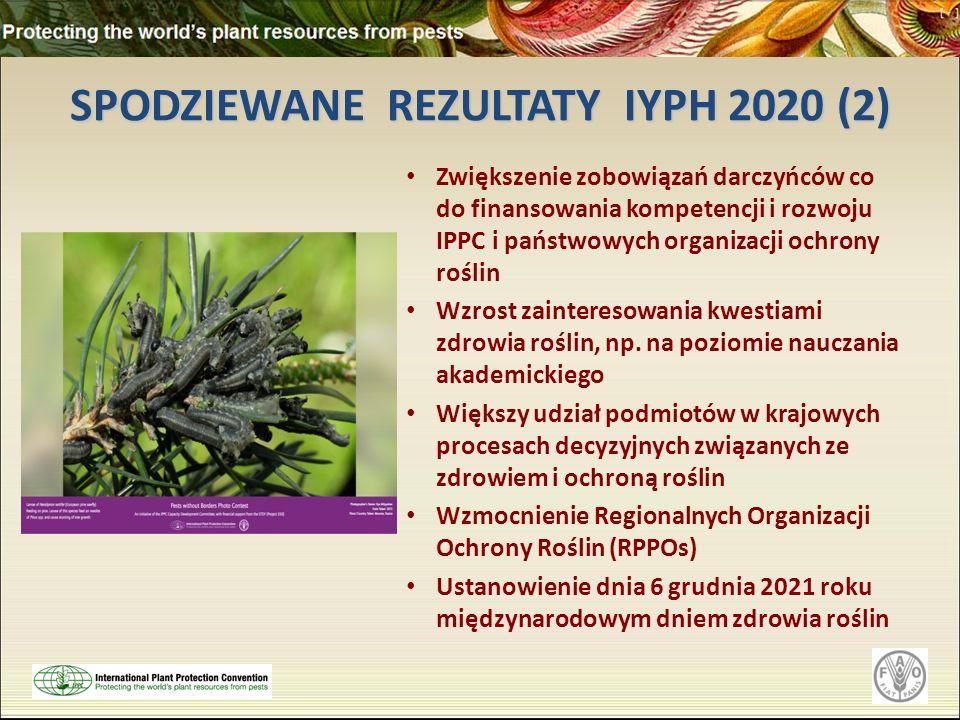 SPODZIEWANE REZULTATY IYPH 2020 (2) Zwiększenie zobowiązań darczyńców co do finansowania kompetencji i rozwoju IPPC i państwowych organizacji ochrony roślin Wzrost zainteresowania kwestiami zdrowia roślin, np.