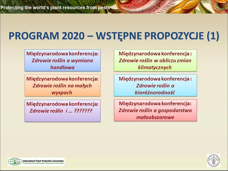 PROGRAM 2020 – WSTĘPNE PROPOZYCJE (1) Międzynarodowa konferencja: Zdrowie roślin a wymiana handlowa Międzynarodowa konferencja: Zdrowie roślin a wymia