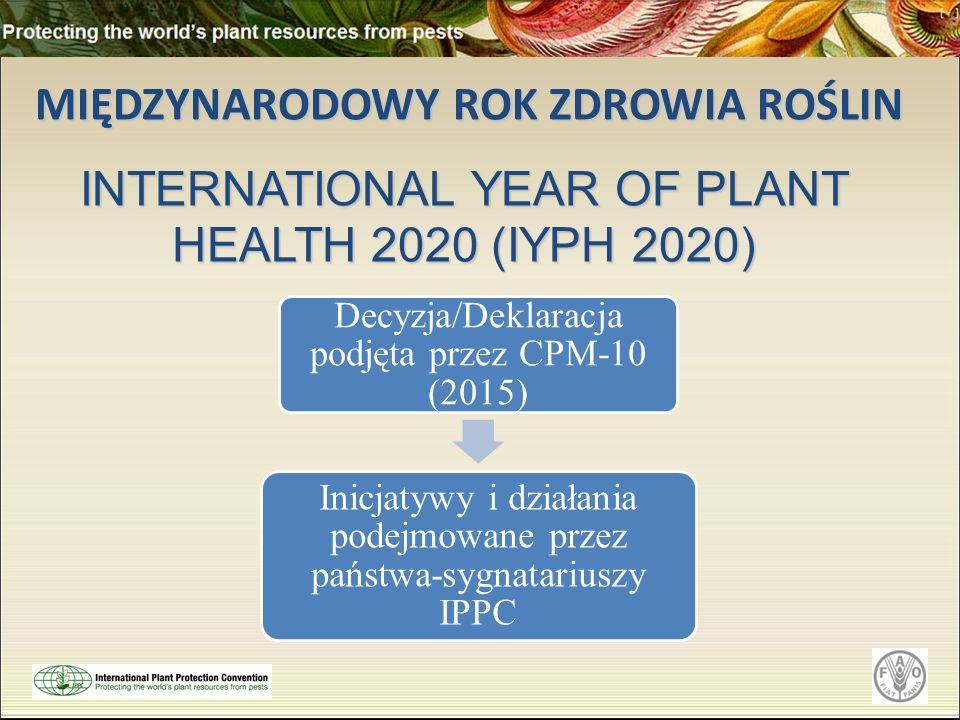 MIĘDZYNARODOWY ROK ZDROWIA ROŚLIN MIĘDZYNARODOWY ROK ZDROWIA ROŚLIN INTERNATIONAL YEAR OF PLANT HEALTH 2020 (IYPH 2020) Decyzja/Deklaracja podjęta przez CPM-10 (2015) Inicjatywy i działania podejmowane przez państwa-sygnatariuszy IPPC