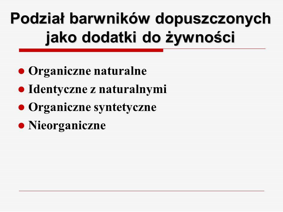 Podział barwników dopuszczonych jako dodatki do żywności Organiczne naturalne Identyczne z naturalnymi Organiczne syntetyczne Nieorganiczne
