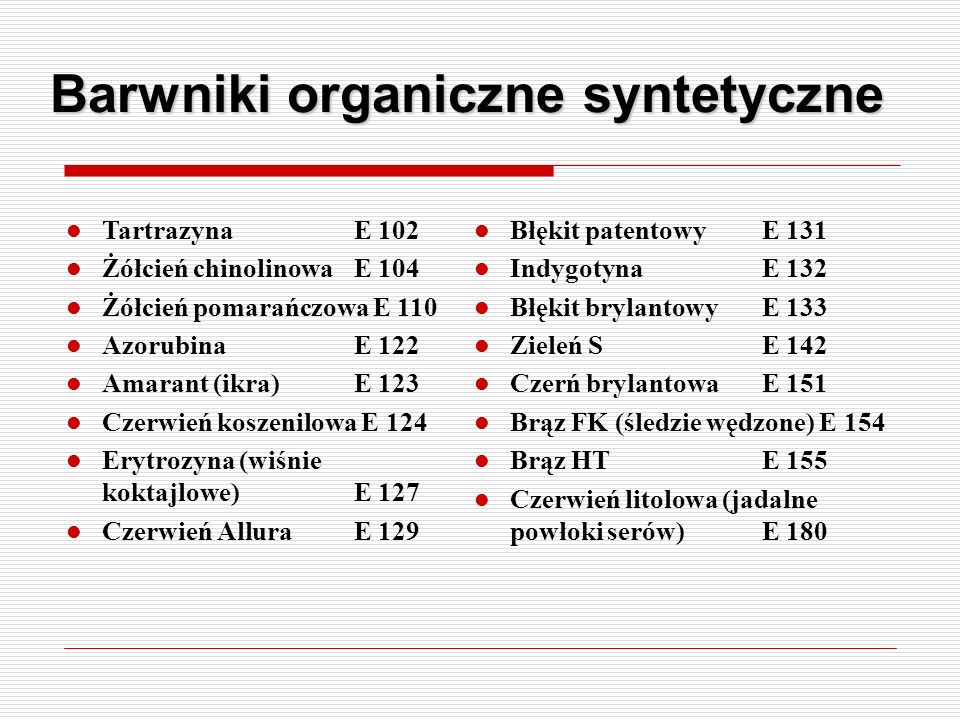 Barwniki organiczne syntetyczne Tartrazyna E 102 Żółcień chinolinowa E 104 Żółcień pomarańczowa E 110 Azorubina E 122 Amarant (ikra)E 123 Czerwień kos