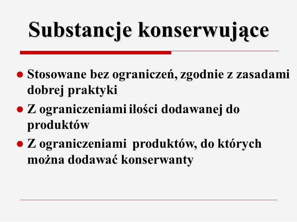 Substancje konserwujące Stosowane bez ograniczeń, zgodnie z zasadami dobrej praktyki Z ograniczeniami ilości dodawanej do produktów Z ograniczeniami p
