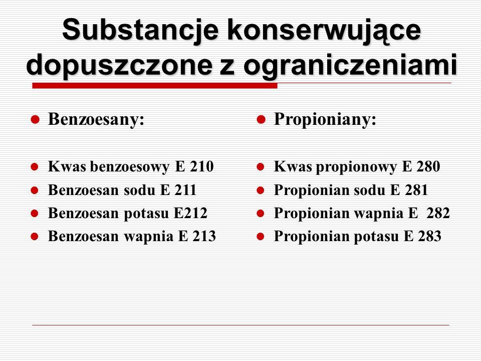 Substancje konserwujące dopuszczone z ograniczeniami Benzoesany: Kwas benzoesowy E 210 Benzoesan sodu E 211 Benzoesan potasu E212 Benzoesan wapnia E 2