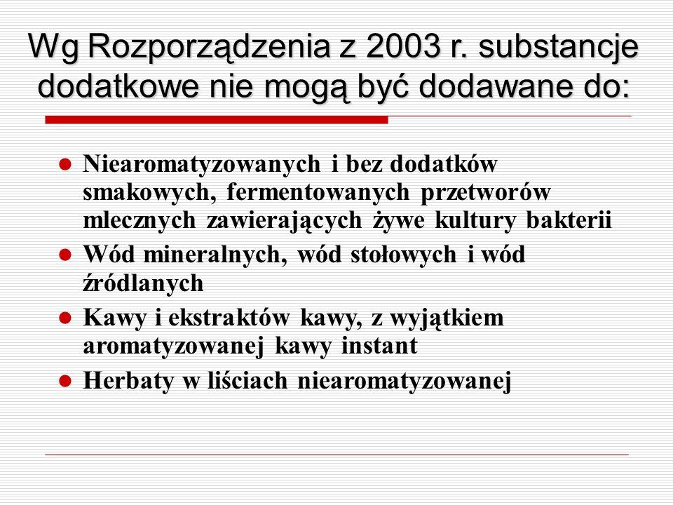 Wg Rozporządzenia z 2003 r. substancje dodatkowe nie mogą być dodawane do: Niearomatyzowanych i bez dodatków smakowych, fermentowanych przetworów mlec