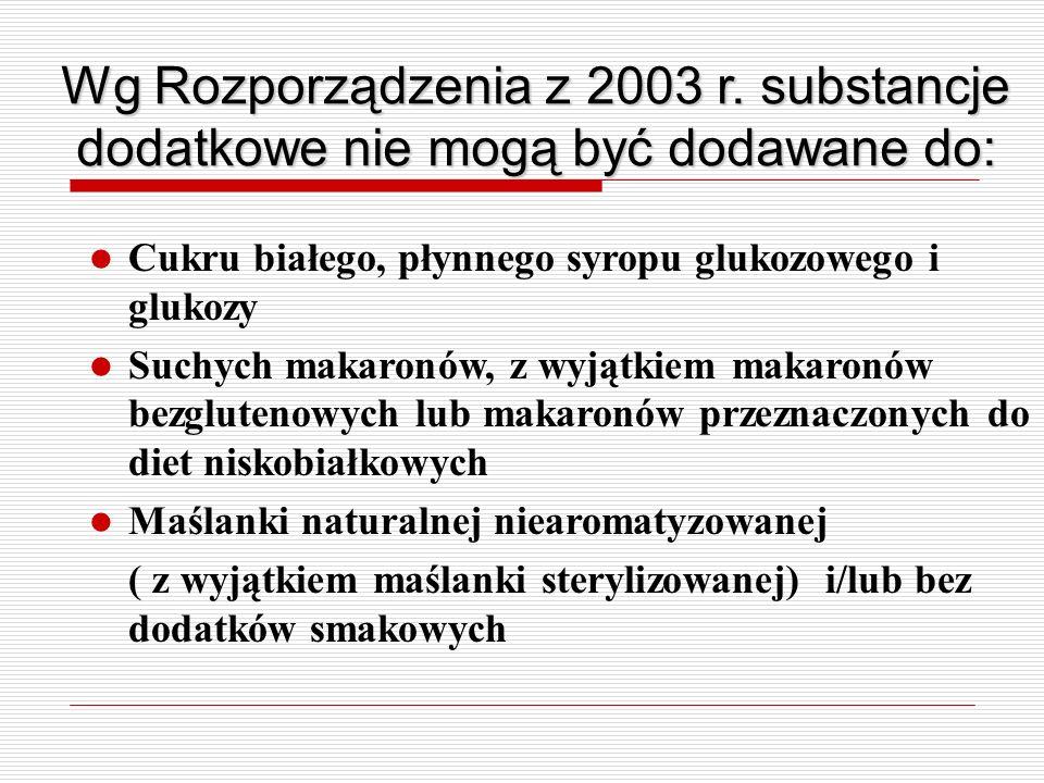 Wg Rozporządzenia z 2003 r. substancje dodatkowe nie mogą być dodawane do: Cukru białego, płynnego syropu glukozowego i glukozy Suchych makaronów, z w
