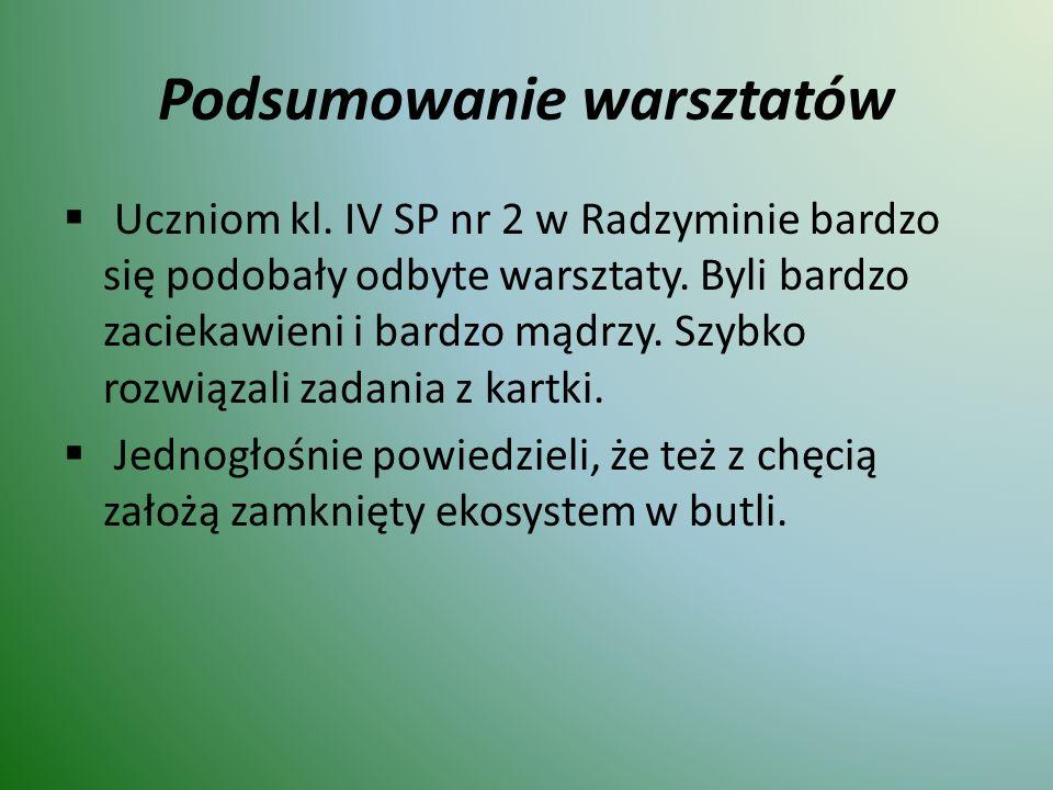 Podsumowanie warsztatów  Uczniom kl. IV SP nr 2 w Radzyminie bardzo się podobały odbyte warsztaty.