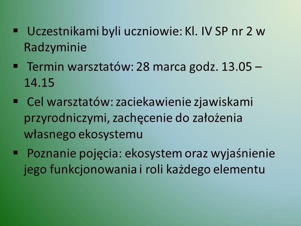  Uczestnikami byli uczniowie: Kl. IV SP nr 2 w Radzyminie  Termin warsztatów: 28 marca godz. 13.05 – 14.15  Cel warsztatów: zaciekawienie zjawiskam