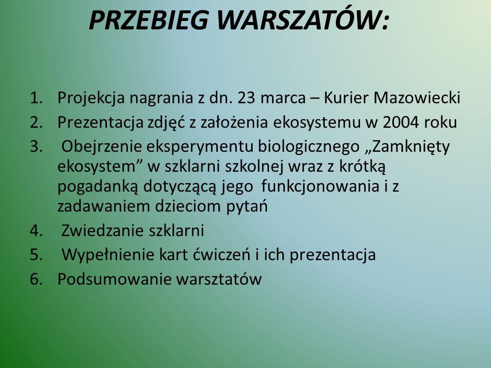 PRZEBIEG WARSZATÓW: 1.Projekcja nagrania z dn. 23 marca – Kurier Mazowiecki 2.Prezentacja zdjęć z założenia ekosystemu w 2004 roku 3. Obejrzenie ekspe