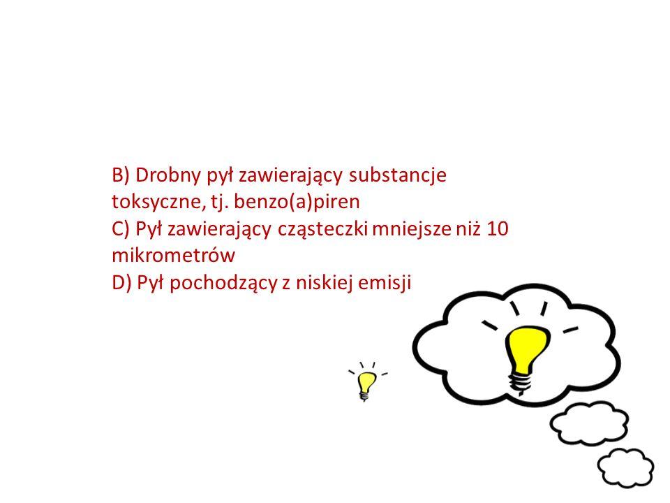 B) Drobny pył zawierający substancje toksyczne, tj.