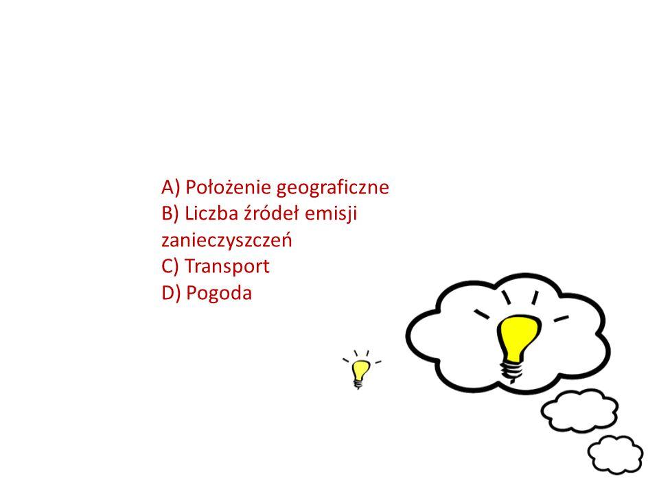 A) Położenie geograficzne B) Liczba źródeł emisji zanieczyszczeń C) Transport D) Pogoda