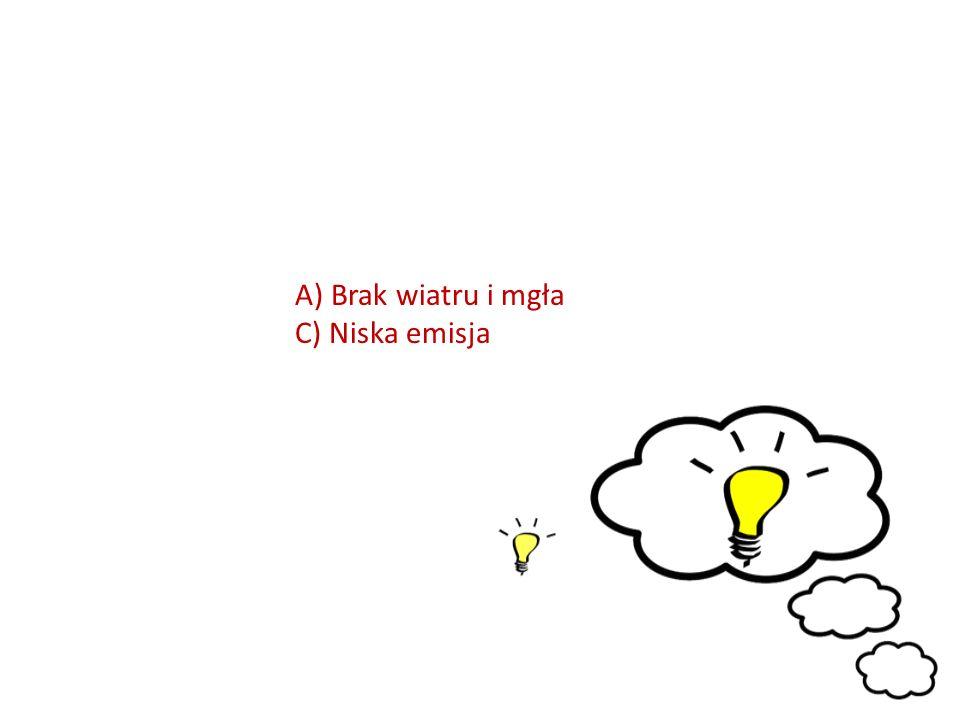 A)Brak wiatru i mgła C) Niska emisja