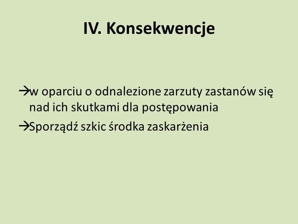 IV. Konsekwencje  w oparciu o odnalezione zarzuty zastanów się nad ich skutkami dla postępowania  Sporządź szkic środka zaskarżenia
