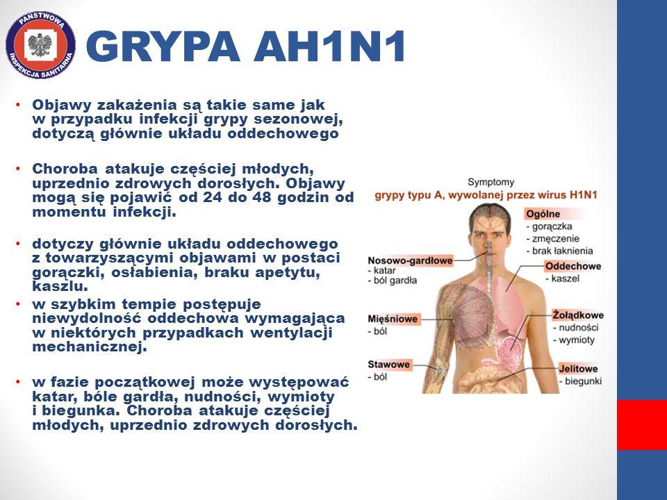 GRYPA AH1N1 Objawy zakażenia są takie same jak w przypadku infekcji grypy sezonowej, dotyczą głównie układu oddechowego Choroba atakuje częściej młody