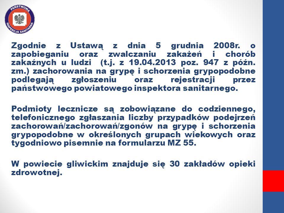 Zgodnie z Ustawą z dnia 5 grudnia 2008r. o zapobieganiu oraz zwalczaniu zakażeń i chorób zakaźnych u ludzi (t.j. z 19.04.2013 poz. 947 z późn. zm.) za