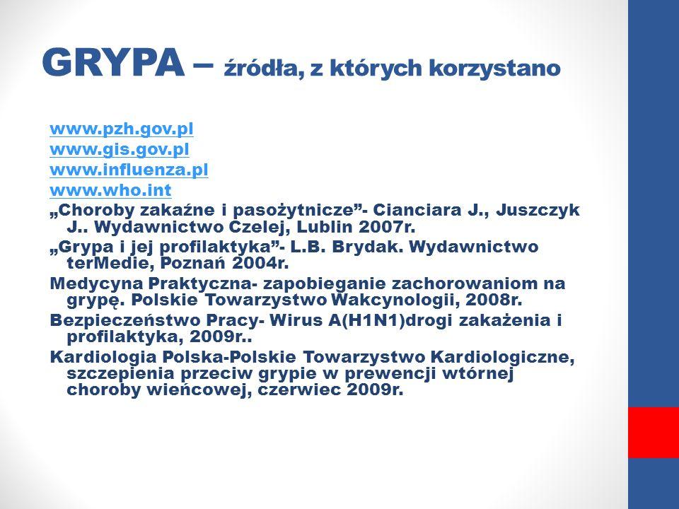 """GRYPA – źródła, z których korzystano www.pzh.gov.pl www.gis.gov.pl www.influenza.pl www.who.int """"Choroby zakaźne i pasożytnicze""""- Cianciara J., Juszcz"""