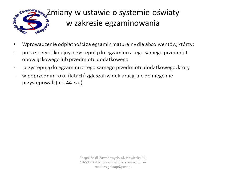 Zmiany w ustawie o systemie oświaty w zakresie egzaminowania Zespół Szkół Zawodowych, ul. Jaćwieska 14, 19-500 Gołdap www.zszsuperszkolna.pl, e- mail: