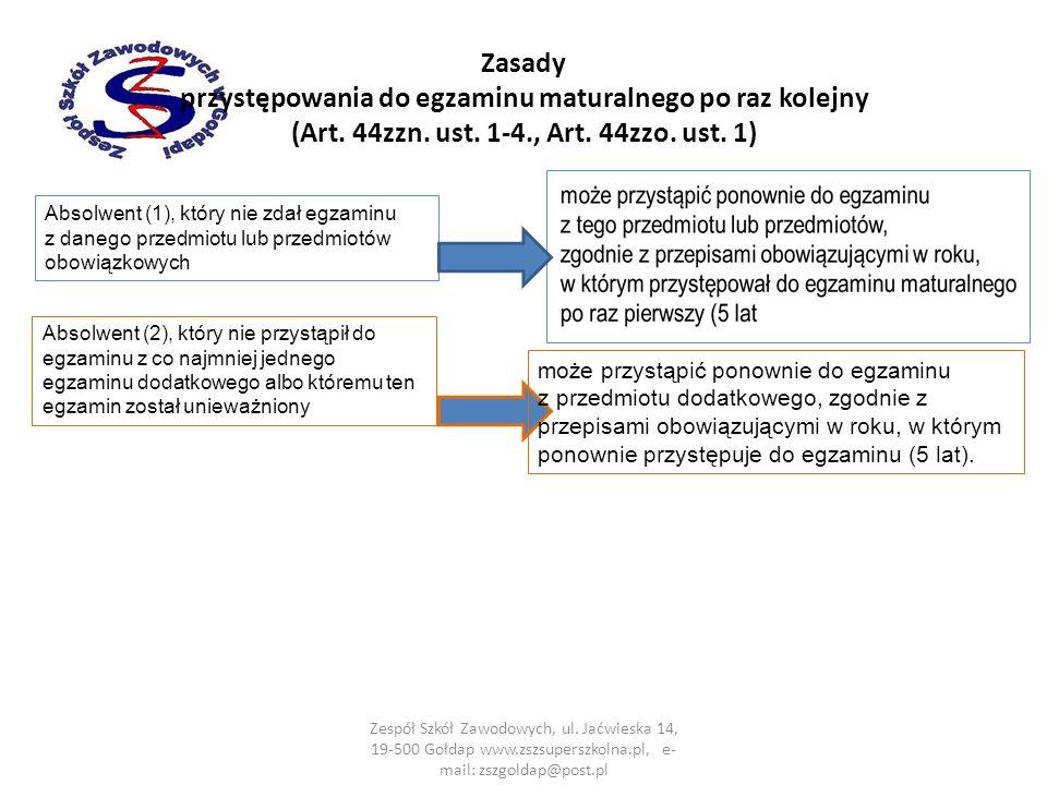 Zasady przystępowania do egzaminu maturalnego po raz kolejny (Art.