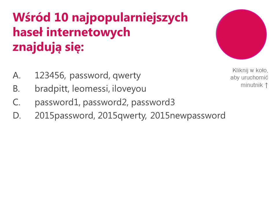 Wśród 10 najpopularniejszych haseł internetowych znajdują się: A.123456, password, qwerty B.bradpitt, leomessi, iloveyou C.password1, password2, password3 D.2015password, 2015qwerty, 2015newpassword Kliknij w koło, aby uruchomić minutnik ↑