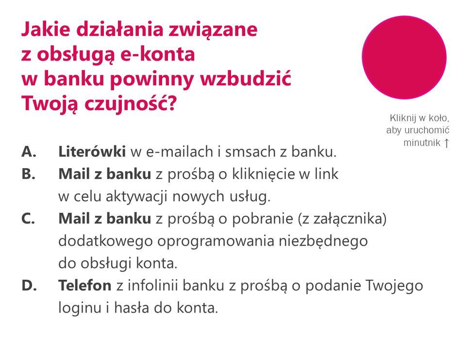 Jakie działania związane z obsługą e-konta w banku powinny wzbudzić Twoją czujność.