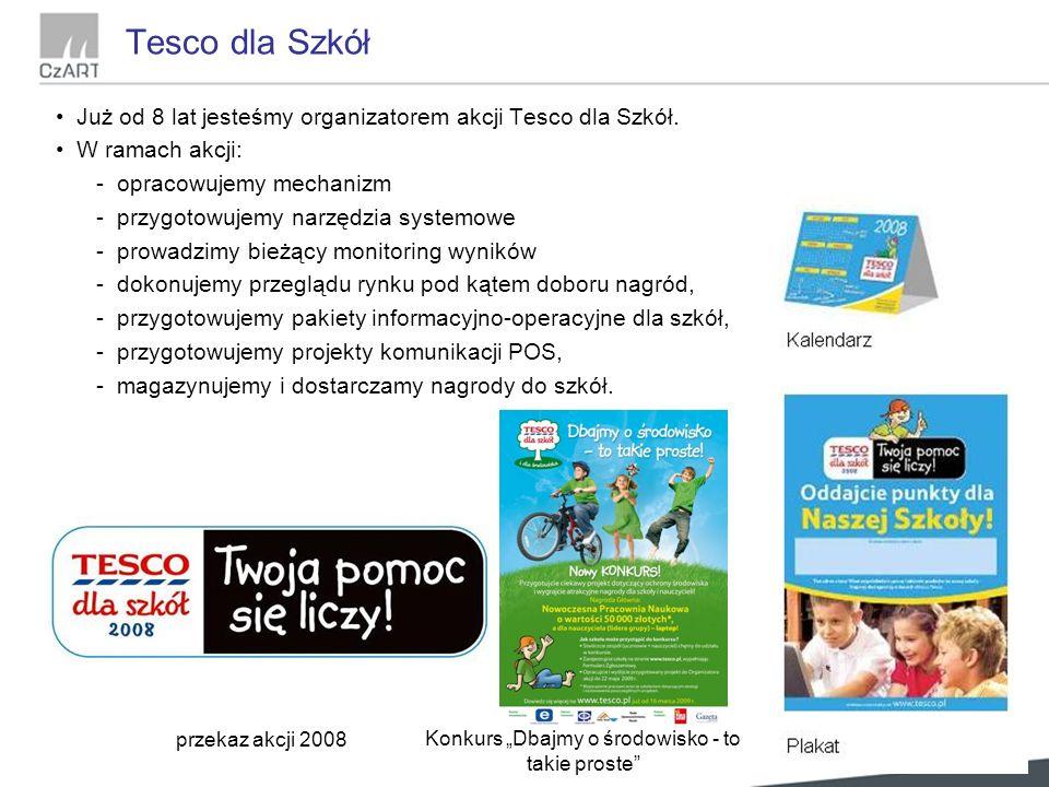Tesco dla Szkół Już od 8 lat jesteśmy organizatorem akcji Tesco dla Szkół.