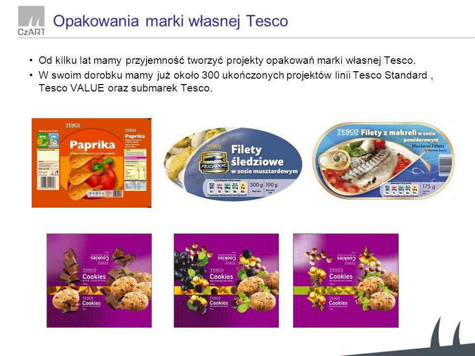Opakowania marki własnej Tesco Od kilku lat mamy przyjemność tworzyć projekty opakowań marki własnej Tesco.
