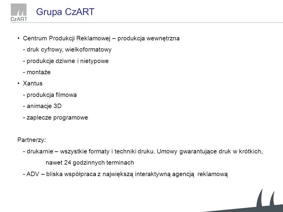 Grupa CzART Centrum Produkcji Reklamowej – produkcja wewnętrzna - druk cyfrowy, wielkoformatowy - produkcje dziwne i nietypowe - montaże Xantus - produkcja filmowa - animacje 3D - zaplecze programowe Partnerzy: - drukarnie – wszystkie formaty i techniki druku.