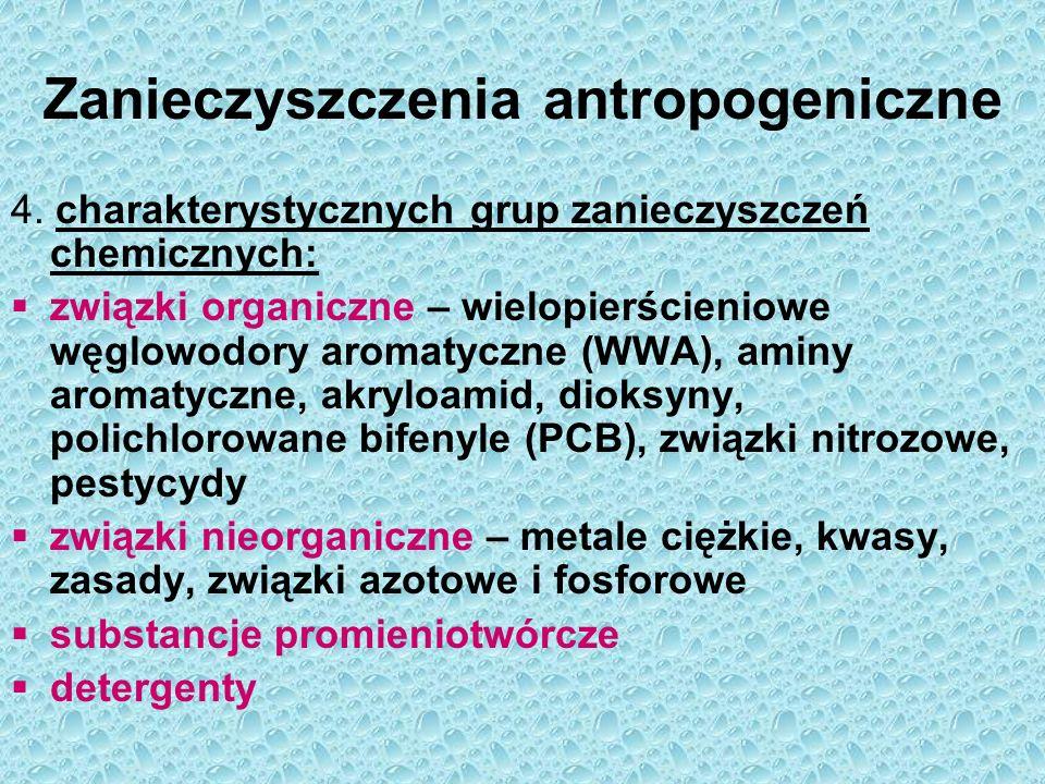 Zanieczyszczenia antropogeniczne 4. charakterystycznych grup zanieczyszczeń chemicznych:  związki organiczne – wielopierścieniowe węglowodory aromaty